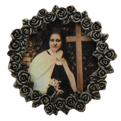 St. Therese Mini Pewter Frame #MPF-STT(b/w)-0