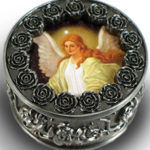 Guardian Angel Pewter Rosary Box #PRBX-GA-0