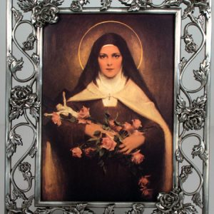 St Therese 5x7 Rose Pewter Frame #57PF-STT-0