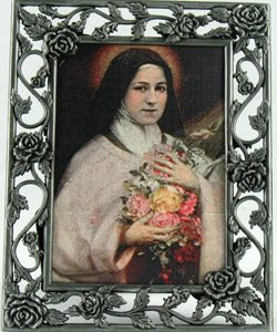 St. Therese 3x5 Rose Pewter Frame#23PF-STTD-0