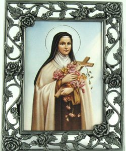 St. Therese 3x5 Rose Pewter Frame#23PF-STT2-0