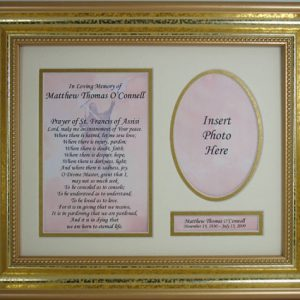 "Personalized Sympathy Plaque ""Prayer to St. Francis"" #10113 -0"