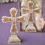ANTIQUE IVORY CROSS STATUE WITH A MATTE GOLD FILIGREE 8970-0